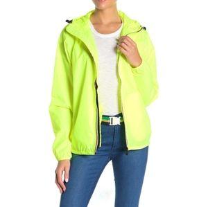 K-Way florescent hooded jacket large
